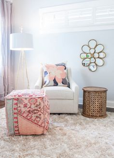 Gorgeous nursery in a rose quartz + serenity blue palette featuring a Surya Zahra pouf (ZHPF-006) Design: Maggie Yackel for Lucy and Company, Photo: Mekenzie France