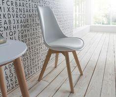 DeLife Esszimmerstuhl Jasar Weiss Beine Eiche geölt Bauhausstil, Stühle, Esszimmerstühle,