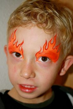 cool flames face paint design for boys