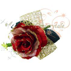 FC026 Rose Buttonhole / Wrist Corsage [FC026 Red/Gold] - HKD028 :... via Polyvore