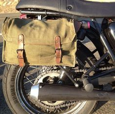 Vintage French Military Messenger Bags with Mounting Brackets and Hardware for the Triumph Bonneville, SE, T100, Thruxton and Scrambler