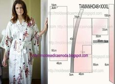MOLDE DE ROBE As I know you appreciate easy modeling today I propose an easy to make robe mold in size In the Brazilian table corresponds to size Never Coat Patterns, Sewing Patterns Free, Clothing Patterns, Dress Patterns, Fashion Sewing, Diy Fashion, Sewing Clothes, Diy Clothes, Dress Sewing