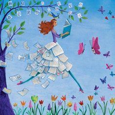 Book girl artist Illustration by www. Illustrations, Art And Illustration, Marie Cardouat, Art Fantaisiste, Art Carte, Girl Artist, Square Card, Book Girl, Marquis