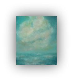 Abstract Seascape- Blue and Turquoise Ocean Sky and Clouds Oil Painting- 20 x 24  Original Palette Knife Art on Canvas