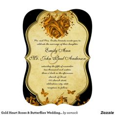 "Gold Heart Roses & Butterflies Wedding Invitation 5"" X 7"" Invitation Card"