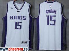 be1dd28bb41 Men s Sacramento Kings  15 DeMarcus Cousins NEW White Stitched NBA 2016-17  adidas Revolution 30 Swingman Jersey