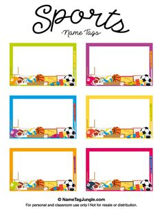 Free printable sports name tags. The template can also be used for creating items like labels and place cards. Download the PDF at http://nametagjungle.com/name-tag/sports/
