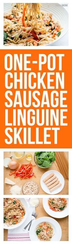 One-Pot Chicken Sausage Linguine Skillet - the simple pasta recipe you'll want to make again and again!
