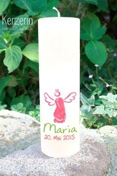 Taufkerzen - Eigener Fussabdruck Taufkerze mit Engel - ein Designerstück von Kerzeria bei DaWanda