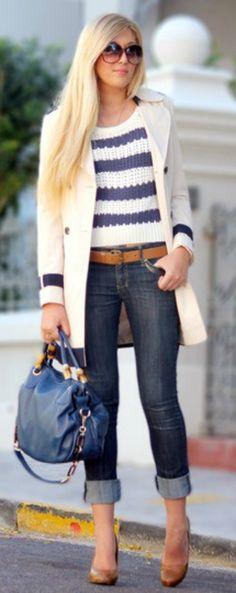 Cuffed jeans, stripes, & winter white