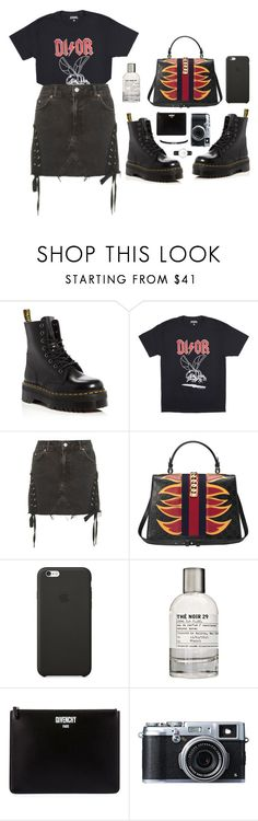 """""""just girly things"""" by millicent4 ❤ liked on Polyvore featuring Dr. Martens, Topshop, Gucci, Black Apple, Le Labo, Givenchy and Fujifilm"""