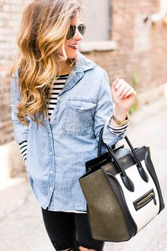 layering chambray over stripes