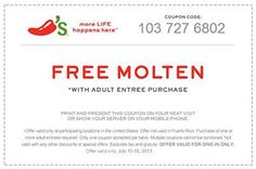 Pinned July 16th: Molten cake free with your entree at Chilis coupon via The Coupons App