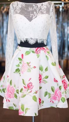 Elegant Two-piece Long Sleeves White Lace Homecoming Dress with Beads and Floral… - all women's dresses, red christmas dress for women, juniors dresses *sponsored https://www.pinterest.com/dresses_dress/ https://www.pinterest.com/explore/dress/ https://www.pinterest.com/dresses_dress/bodycon-dress/ http://www1.macys.com/shop/womens-clothing/dresses?id=5449