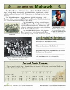Third Grade History Comprehension Worksheets: Native American Tribes: Mohawk
