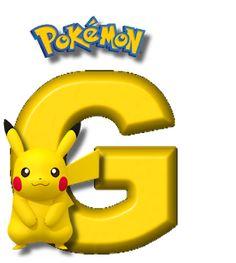 Abecedario de Pikachu de Pokémon. Pikachu Alphabet. Festa Pokemon Go, Pokemon Party, Pokemon Birthday, Brother Birthday, 7th Birthday, Pikachu Drawing, Doraemon Wallpapers, Charizard, Alphabet