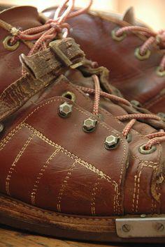 vintage leather ski boots.