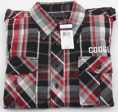 Coogi Button Up Shirt Red Black Plaid New With Tags Large L MSRP $78 #COOGI #ButtonFront
