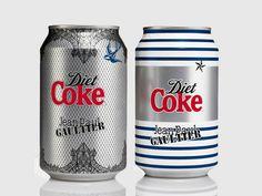 Latas de Diet Coke desenhadas pelo estilista Jean Paul Gaultier
