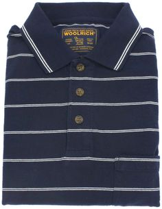 Woolrich Polo Shirt Mens Size Large Short Sleeve Golf Navy Striped Cotton Sz L…