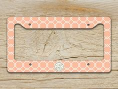 preppy monogrammed license plate frame light coral pattern with grey monogram by togildthelily 1699