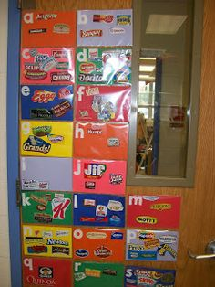 Ask parents at the beinning of school year to bring in 10 assorted food lables. Have the students sort them by alphabetical order and place them in a sheet protector--this way you can add more later as they come in. Glue tem on construction paper with the letter and laminate. Place them in the room so that students can look for words during your Read The Room Center!