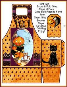 """Using only Two Sheets of Cardstock, Scissors, and Glue, you can create this Tall 7.50"""" Handled Gift Bag with a Coordinating Halloween Tag. The Tote is Generously Sized to Hold Many Goodies and Treats. Crafting Directions are included with your download. Enjoy!"""