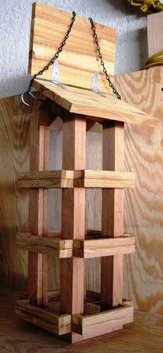 Decorative cedar wood cardinal bird feeder by WoodBirdFeederFrenzy
