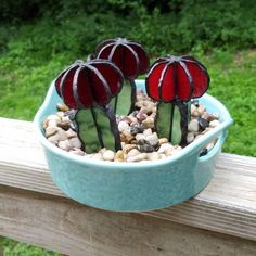 Your place to buy and sell all things handmade - *this listing includes just the glass cactus* This adorable stained glass version of a red grafted - Stained Glass Ornaments, Stained Glass Suncatchers, Stained Glass Flowers, Faux Stained Glass, Stained Glass Designs, Stained Glass Panels, Stained Glass Projects, Stained Glass Patterns, Leaded Glass