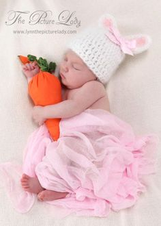 Baby Easter Hat Newborn Bunny Hat with Bow by PreciousMomentsProps, $26.00