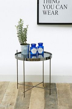 This Kimmy Side Table would be perfect for plants, candles, and maybe some old perfume bottles. Love the shiny tray top! Old Perfume Bottles, Uo Home, Home Salon, Urban Outfitters, Rustic Industrial, Decoration, Home Gifts, Furniture Decor, Home Accessories