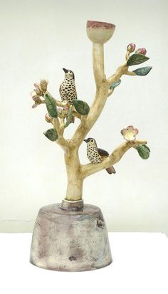 """Apple Blossom and Thrushes"" tall candlestick by Anna Lambert Porcelain Clay, Ceramic Clay, Ceramic Painting, Ceramic Pottery, Pottery Art, Clay Birds, Ceramic Birds, Ceramic Animals, Pottery Sculpture"
