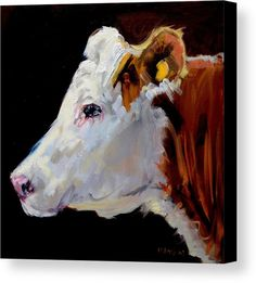 White On Brown Cow by Diane Whitehead - White On Brown Cow Painting - White On Brown Cow Fine Art Prints and Posters for Sale Cow Paintings On Canvas, Cow Canvas, Farm Paintings, Animal Paintings, Canvas Art, Canvas Prints, Farm Art, Cow Art, Art For Art Sake