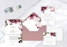 Candy Pink and Dusty Rose Watercolour Wedding Invitation Suite - Anne & Gilbert Lavender Wedding Invitations, Unique Wedding Invitations, Watercolor Wedding Invitations, Wedding Invitation Suite, Custom Invitations, Invitation Design, Wedding Stationery, Rose Watercolour, Pink Candy