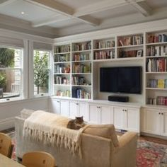 Traditional Family Room built in bookcase Design Ideas, Pictures, Remodel and Decor Living Room Built Ins, Living Room Shelves, Living Room White, White Rooms, New Living Room, Home And Living, Living Room Decor, Living Area, Cozy Living