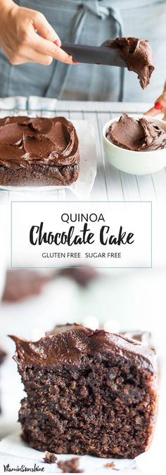 Chocolate Quinoa Cake / This healthy chocolate snack cake is made with quinoa and sweetened entirely with fruit! #chocolate #quinoa #glutenfree #sugarfree #cake