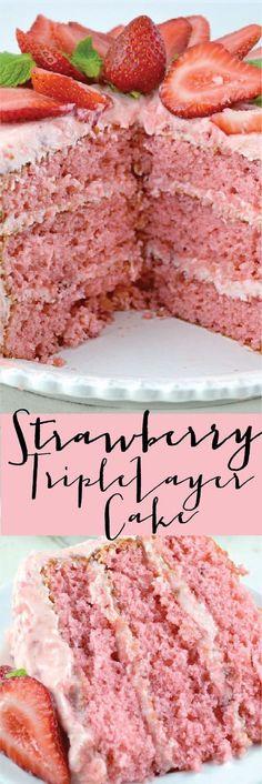 Amazing Triple Decker Strawberry Cake. Super Moist, Rich and Really Sweet! #Best #Strawberry #Triple #Layer #Cake #Easy #Recipe #Fresh #CakeMix #Jello #VegtableOil #Sugar #Deserts #Summer #Spring #Holidays #Parties #Baking #Birthday #Food #Oven