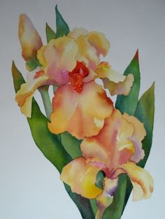 Yellow Irises Watercolor, painting by artist Nel Jansen