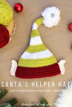 This free crochet elf hat pattern makes an awesome Christmas photo prop and comes in sizes newborn, 3-6 months baby, 6-12 baby, toddler/preschooler, child and adult. The ears make the elves in your life look like Santa's adorable helpers!