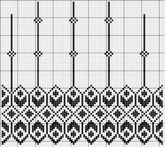 Border 48 | Free chart for cross-stitch, filet crochet | Chart for pattern - Gráfico