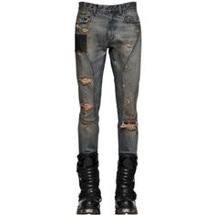 Faith Connexion Men 16cm Skinny Stretch Denim Biker Jeans ($305) ❤ liked on Polyvore featuring men's fashion, men's clothing, men's jeans, guy, blue, mens skinny fit jeans, mens super skinny jeans, mens distressed jeans, mens destroyed jeans and mens patched jeans