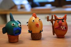 Not very traditional easter eggs but little bit more funnier than ordinary ones. Video shows how You can make a Easter decorations with Your kids in such way,… Funny Easter Eggs, Plasticine, Easter Traditions, Decorations, Traditional, How To Make, Kids, Painting, Food