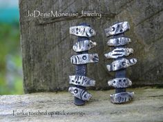 Funky, rustic, unique, torched up stick earrings in sterling silver. One of a kind by JoDeneMoneuseJewelry