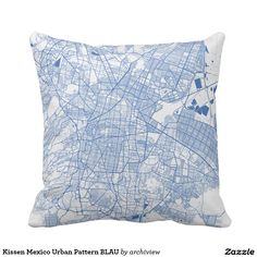 Kissen Mexico Urban Pattern BLAU