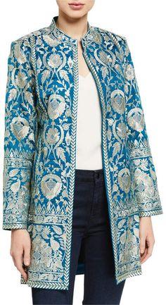 99473499 Bella Tu Selena Metallic Embroidered Jacket w/ Mandarin Collar, 2020 Mode Kimono, Mode Mantel, Latest Fashion For Women, Womens Fashion, Indian Fashion, Bright Dress, Batik Fashion, Embroidered Jacket, Mandarin Collar
