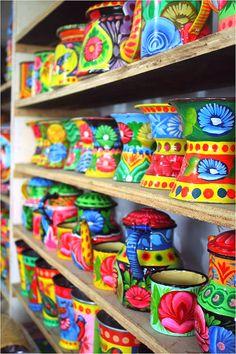 Intricate truck art patterns on mugs and kettles Truck Art Pakistan, Pakistan Art, Pattern Art, Art Patterns, Pakistani Culture, Indian Folk Art, Indian Patterns, Arte Popular, Pottery Making