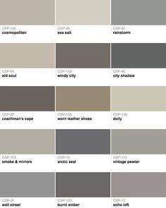 Collection of grays that have a mix of warm and cool undertones. Post shares tips for how to pick good transitional paint colors.