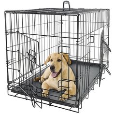 This double-door Dog Kennel Crate for Pets is the Inclusive Home Training System designed completely around the safety, security, and comfort of your dog. The versatile front and side door access allows more options for placement inside your home or vehicle. iCrate features include safe and secure slide-bolt latches, rounded corners, a durable satin-black Electro-Coat finish, and a removable, washable plastic pan for easy cleanup in the event of an accident.