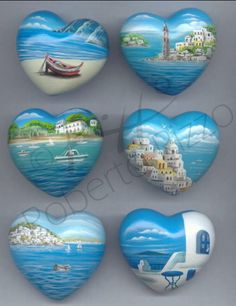 Wooden painted hearts | Rock painting art by Roberto Rizzo