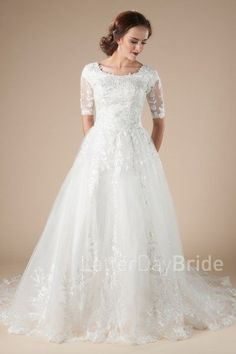 lds wedding dresses at latter day bride, Gardenia ballgown with lace